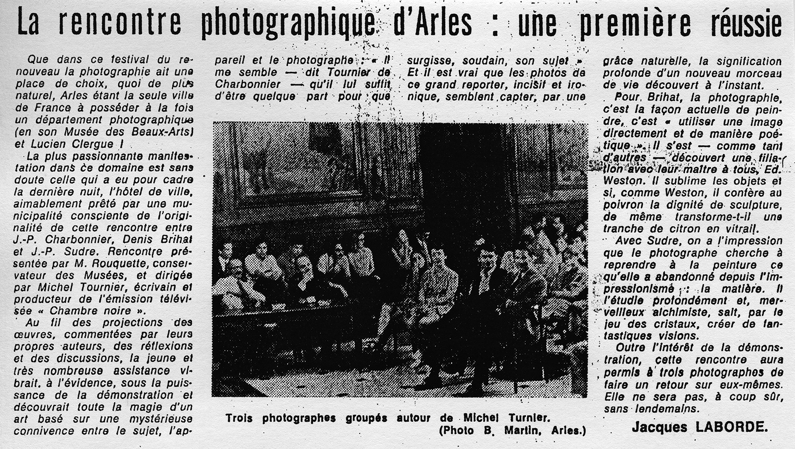 "Article from the regional newspaper ""Le Provencal"", 07. 04. 70, Jacques Laborde."